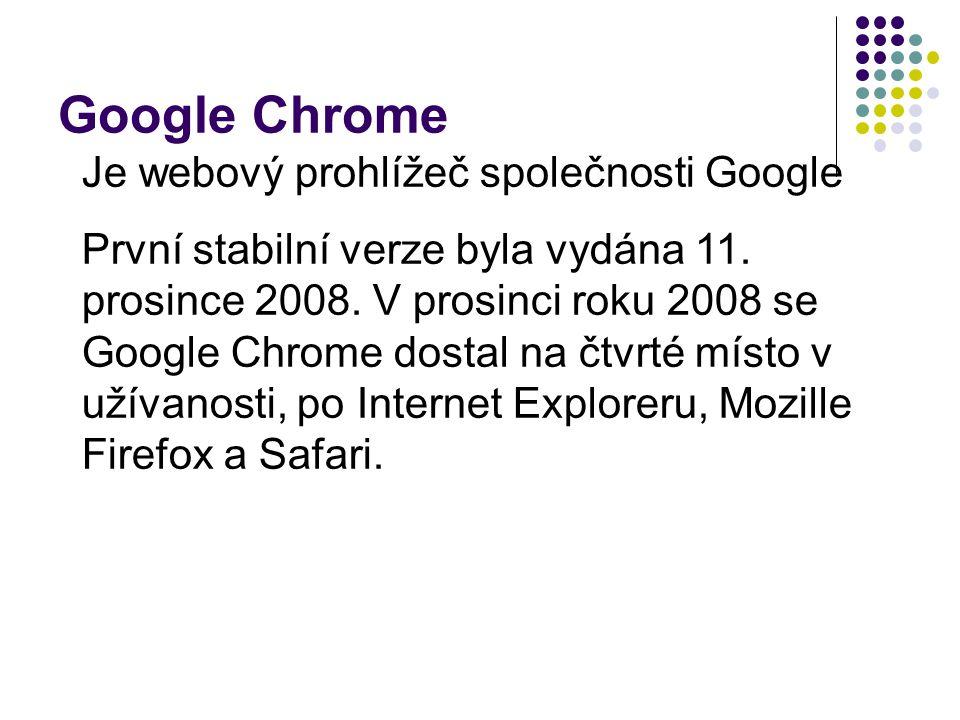 Google Chrome Je webový prohlížeč společnosti Google