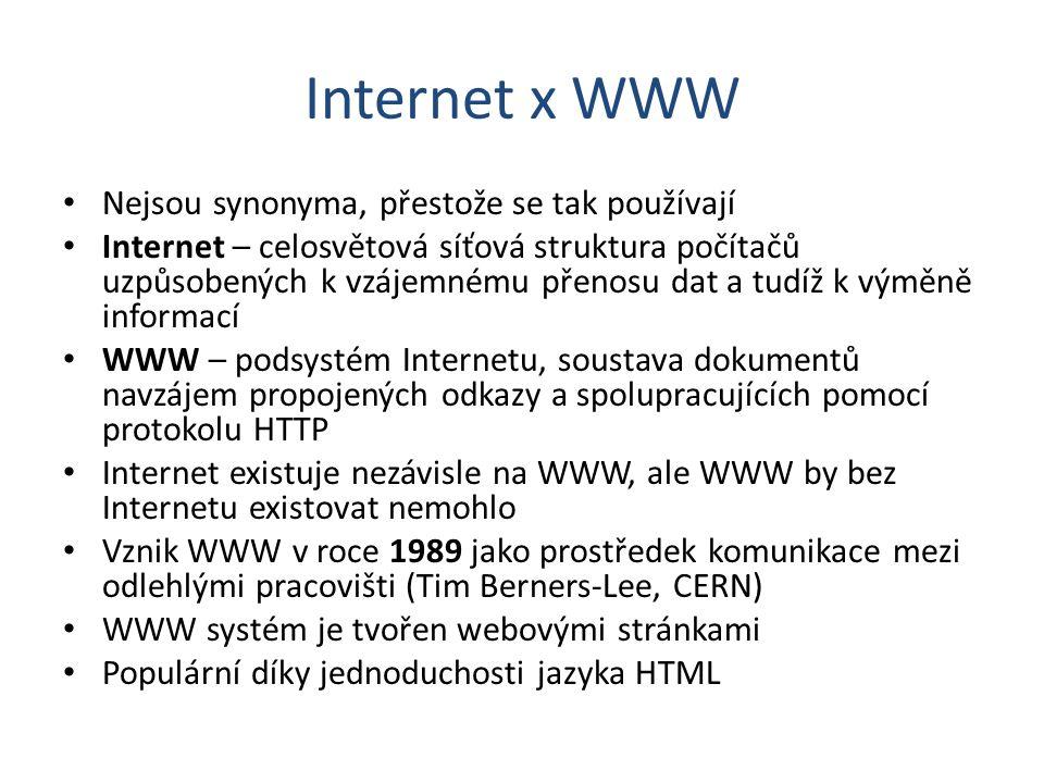Internet x WWW Nejsou synonyma, přestože se tak používají