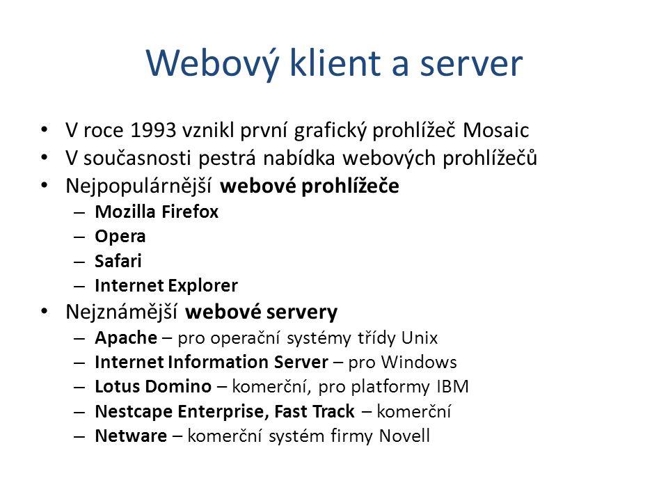 Webový klient a server V roce 1993 vznikl první grafický prohlížeč Mosaic. V současnosti pestrá nabídka webových prohlížečů.