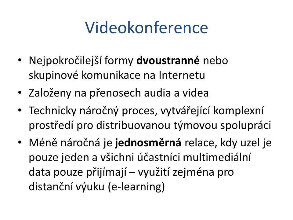 Videokonference Nejpokročilejší formy dvoustranné nebo skupinové komunikace na Internetu. Založeny na přenosech audia a videa.