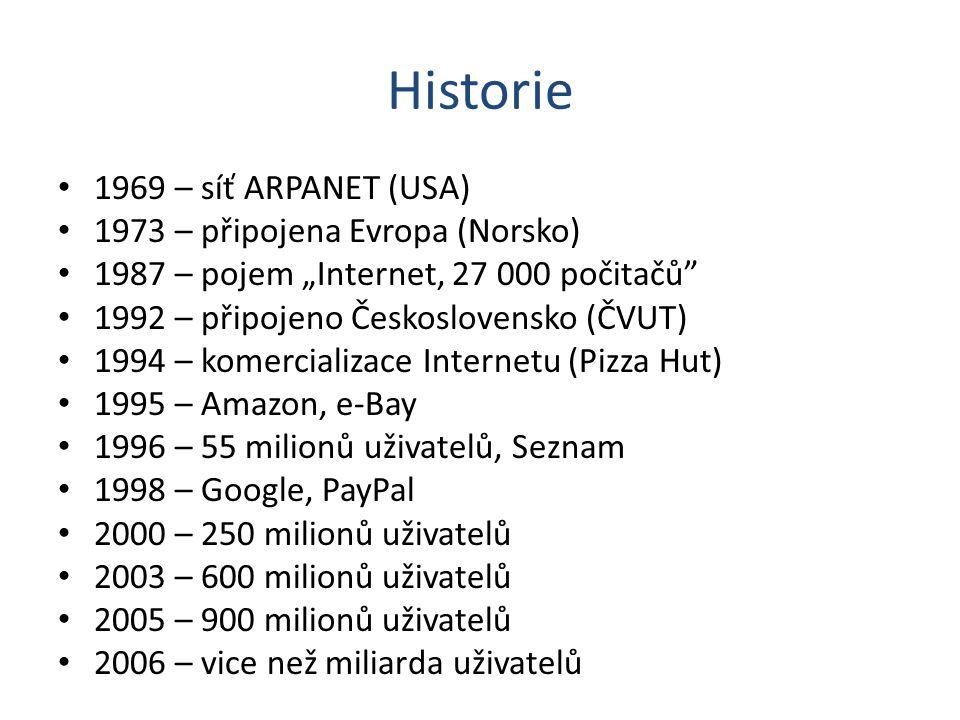 Historie 1969 – síť ARPANET (USA) 1973 – připojena Evropa (Norsko)