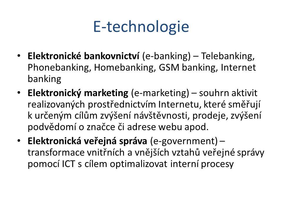 E-technologie Elektronické bankovnictví (e-banking) – Telebanking, Phonebanking, Homebanking, GSM banking, Internet banking.