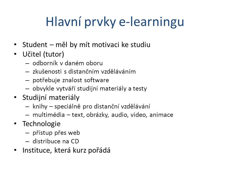 Hlavní prvky e-learningu