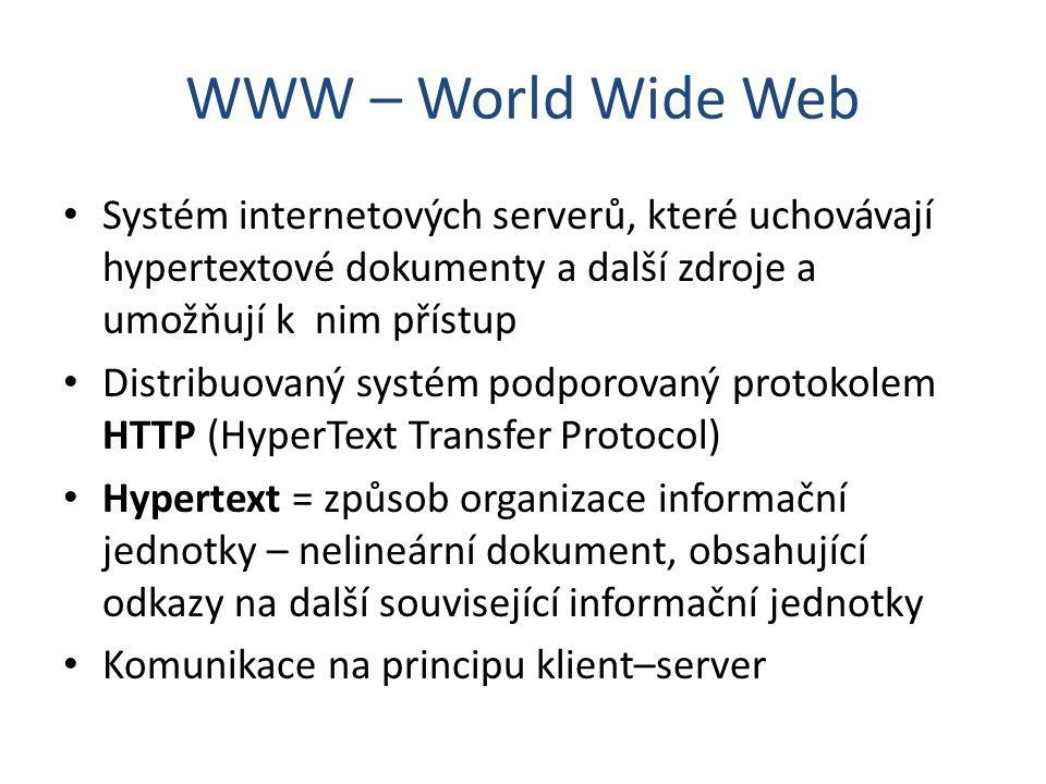 WWW – World Wide Web Systém internetových serverů, které uchovávají hypertextové dokumenty a další zdroje a umožňují k nim přístup.