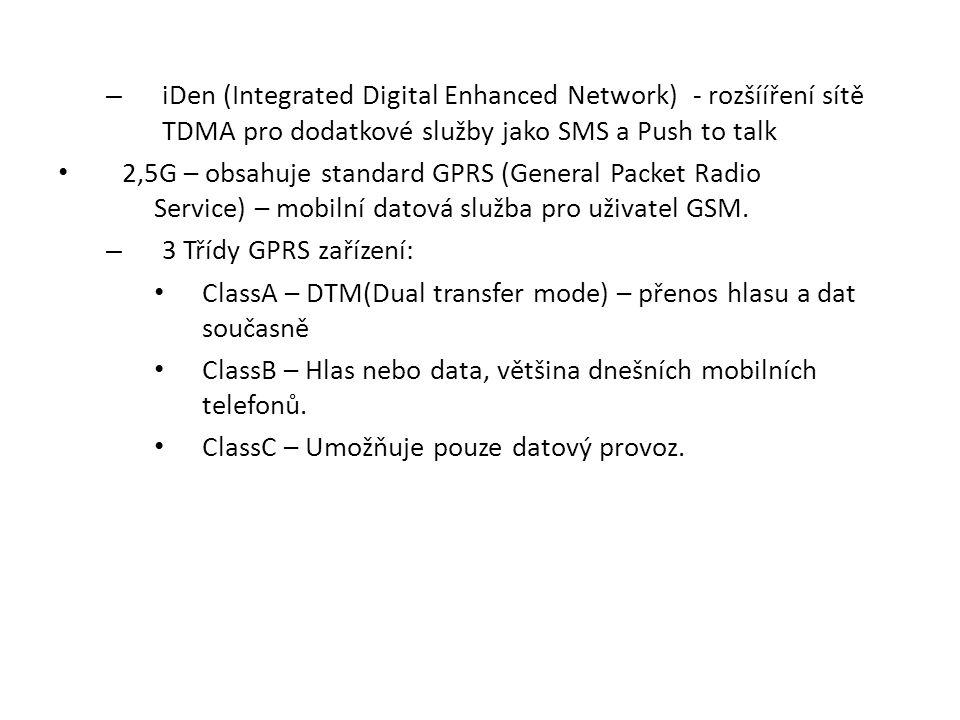 iDen (Integrated Digital Enhanced Network) - rozšííření sítě TDMA pro dodatkové služby jako SMS a Push to talk