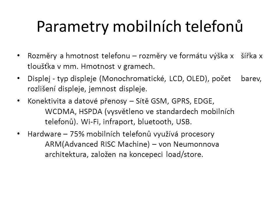 Parametry mobilních telefonů