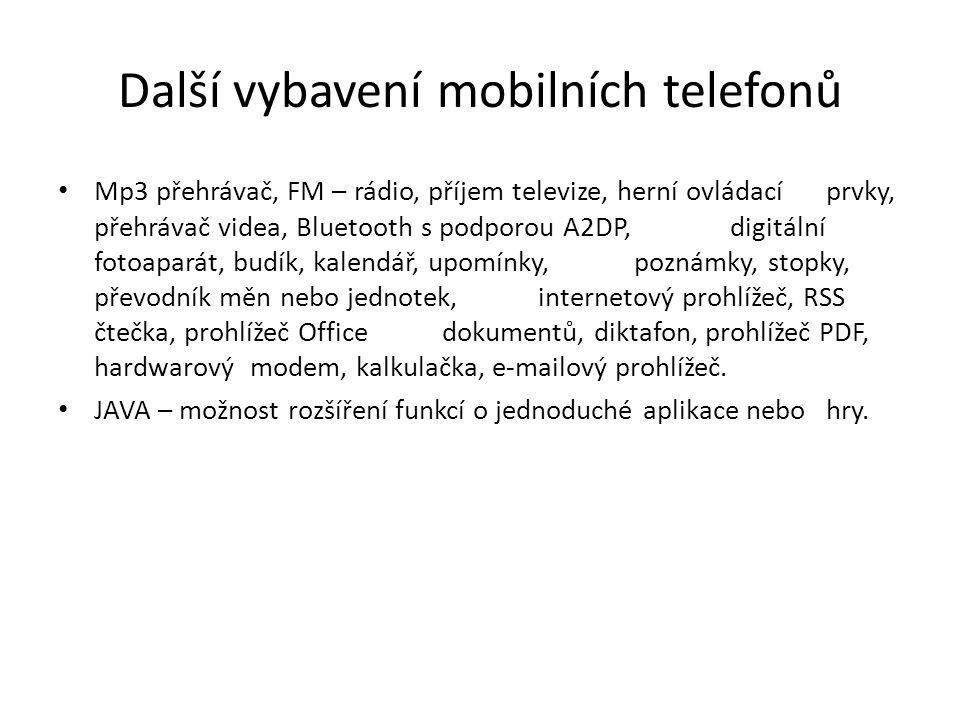 Další vybavení mobilních telefonů