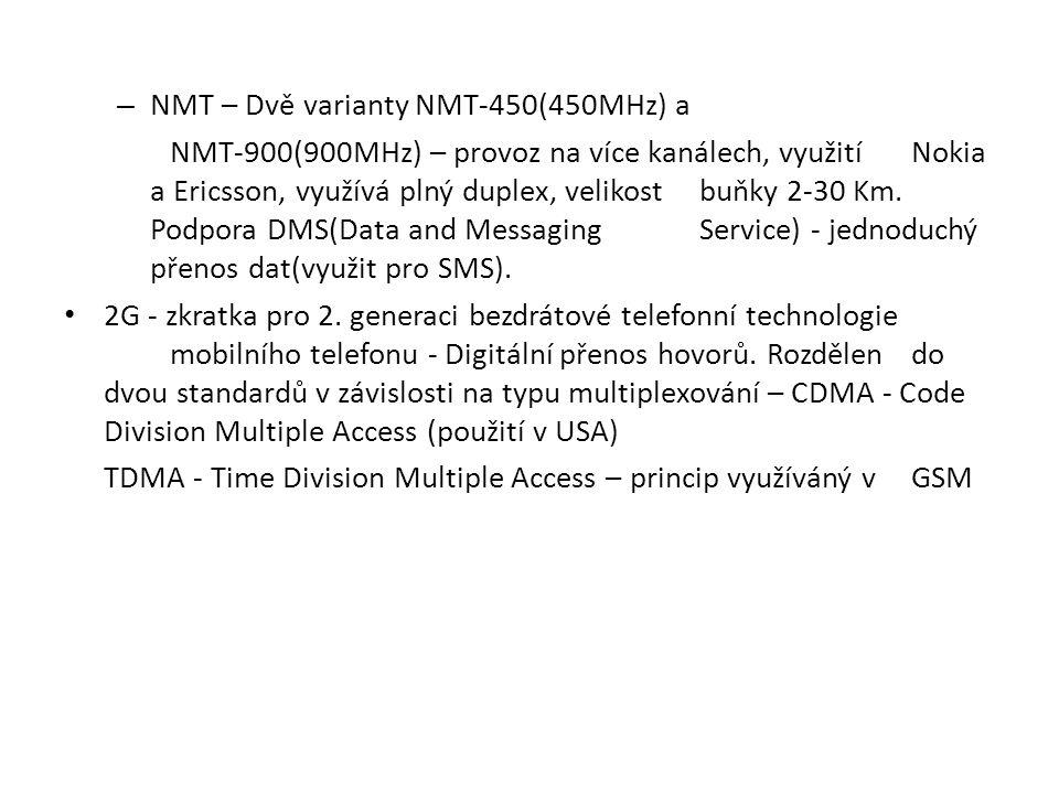 NMT – Dvě varianty NMT-450(450MHz) a