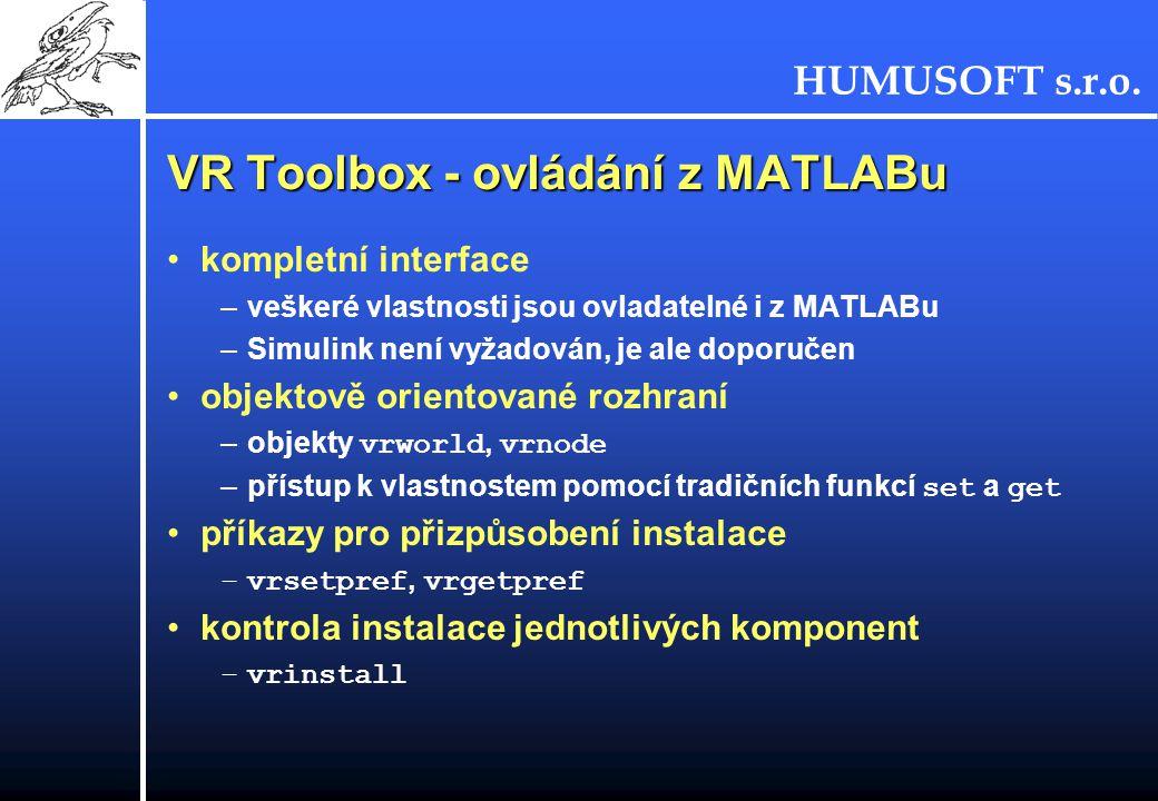VR Toolbox - ovládání z MATLABu