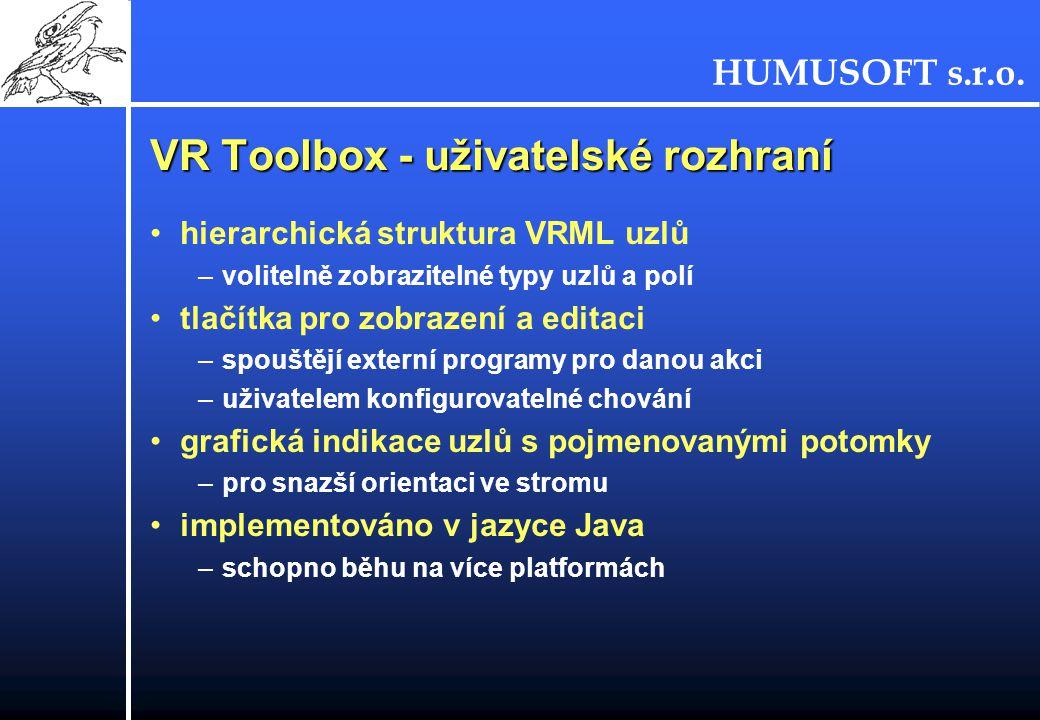 VR Toolbox - uživatelské rozhraní