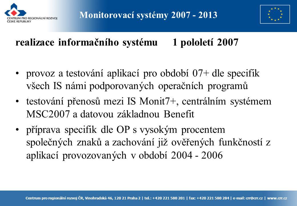 realizace informačního systému 1 pololetí 2007