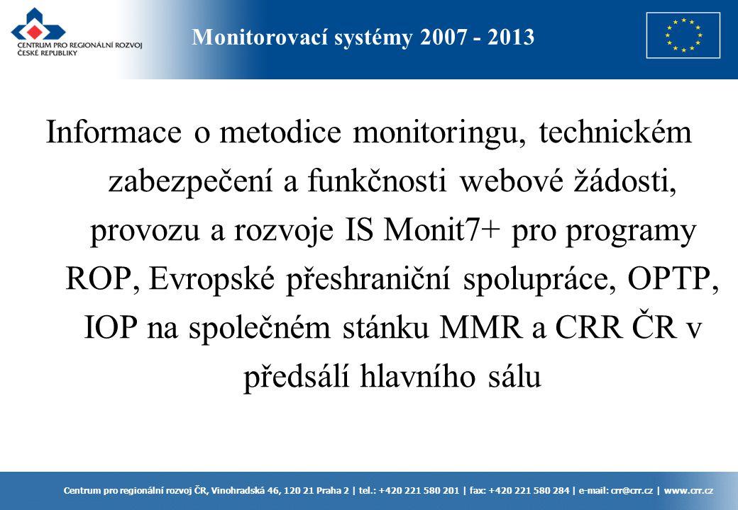 Monitorovací systémy 2007 - 2013