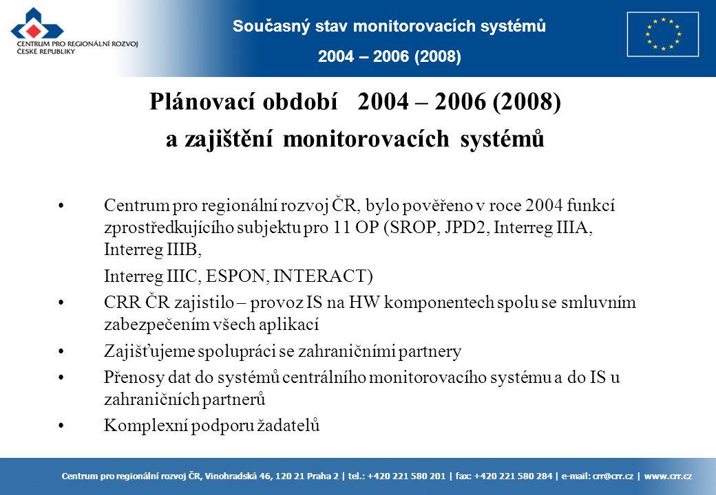 Plánovací období 2004 – 2006 (2008) a zajištění monitorovacích systémů