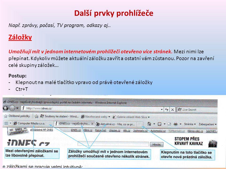 Další prvky prohlížeče