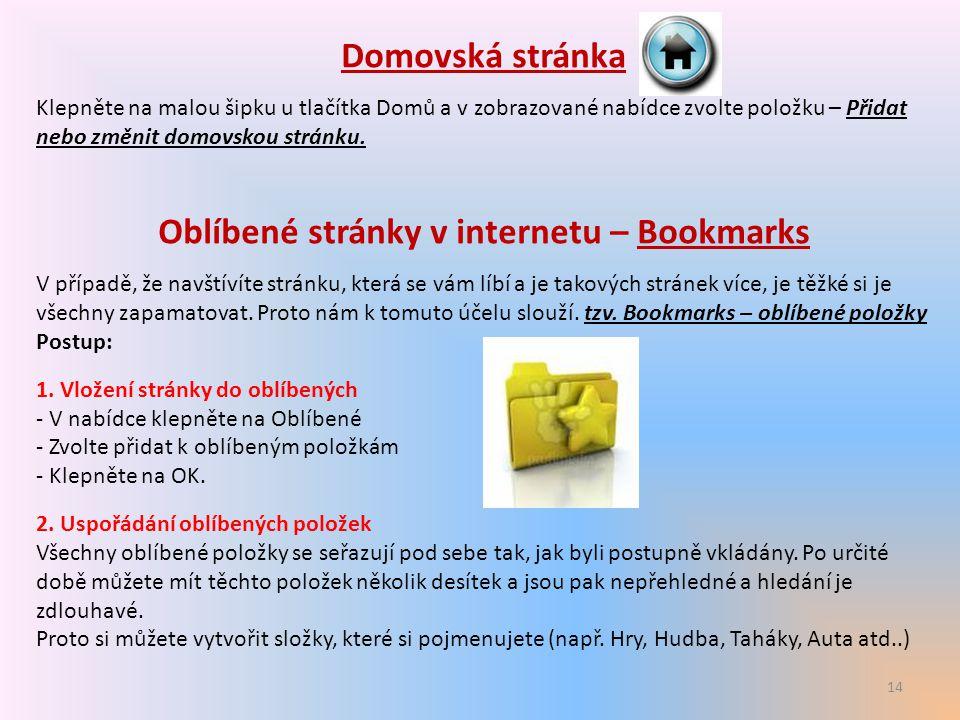 Oblíbené stránky v internetu – Bookmarks