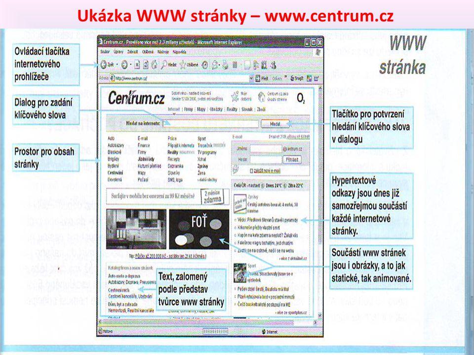 Ukázka WWW stránky – www.centrum.cz