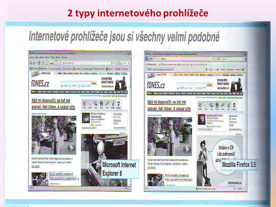 2 typy internetového prohlížeče