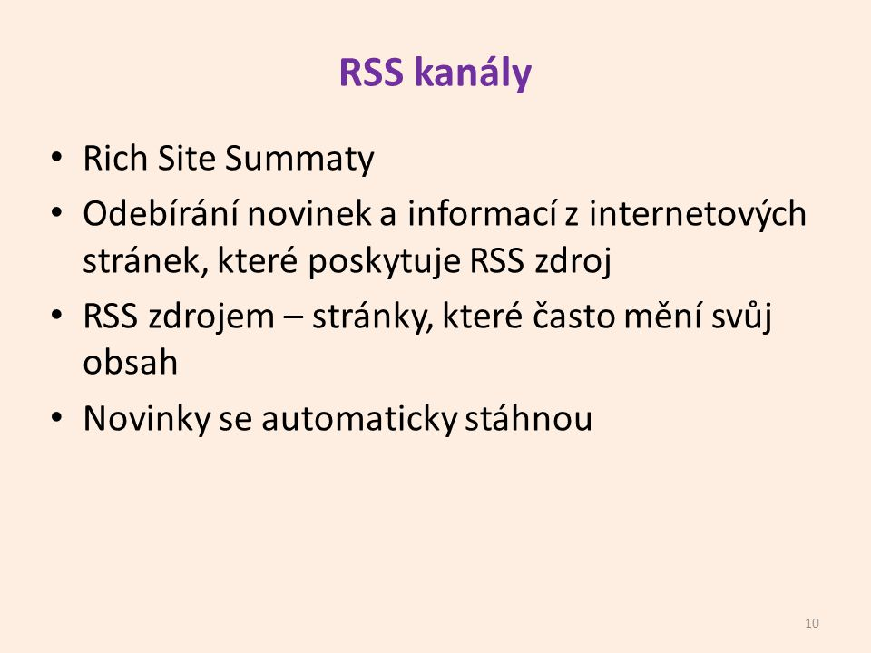 RSS kanály Rich Site Summaty