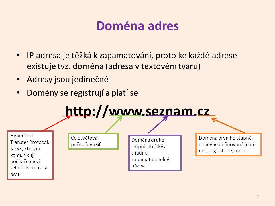 http://www.seznam.cz Doména adres