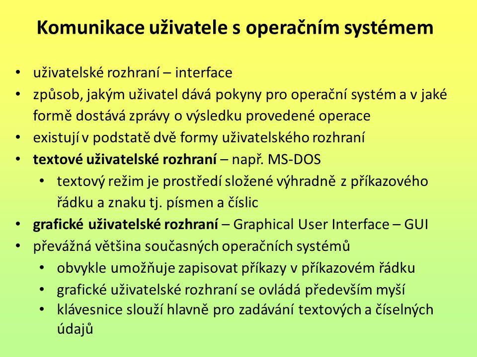 Komunikace uživatele s operačním systémem