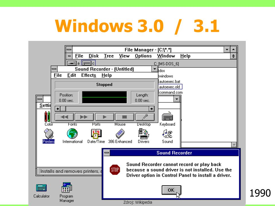 Windows 3.0 / 3.1 1990 Zdroj: Wikipedia