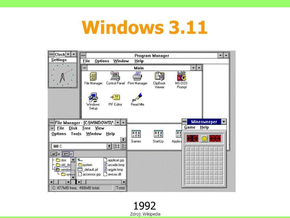 Windows 3.11 1992 Zdroj: Wikipedia