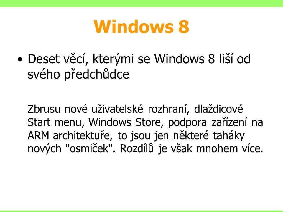 Windows 8 Deset věcí, kterými se Windows 8 liší od svého předchůdce
