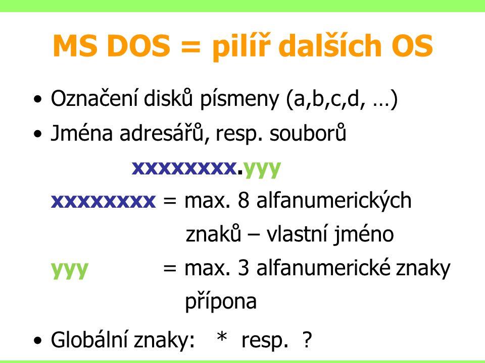 MS DOS = pilíř dalších OS