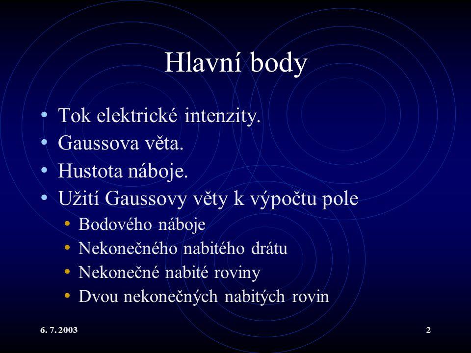 Hlavní body Tok elektrické intenzity. Gaussova věta. Hustota náboje.