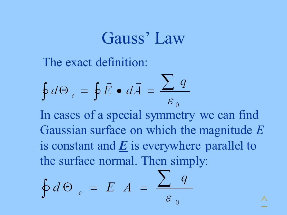 Gauss' Law The exact definition: