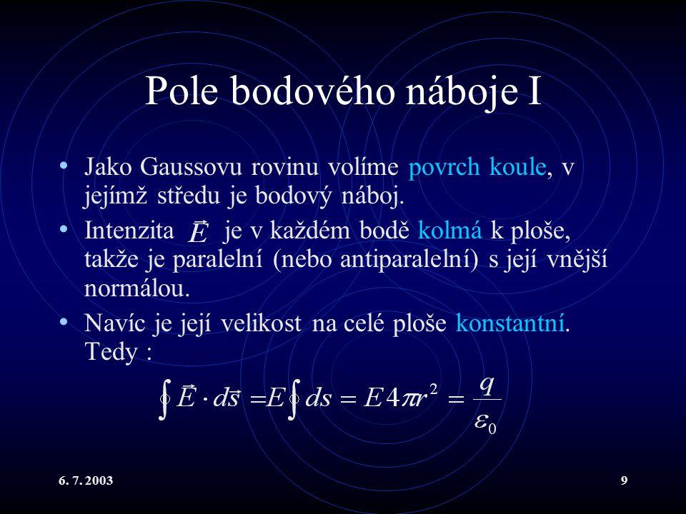 Pole bodového náboje I Jako Gaussovu rovinu volíme povrch koule, v jejímž středu je bodový náboj.