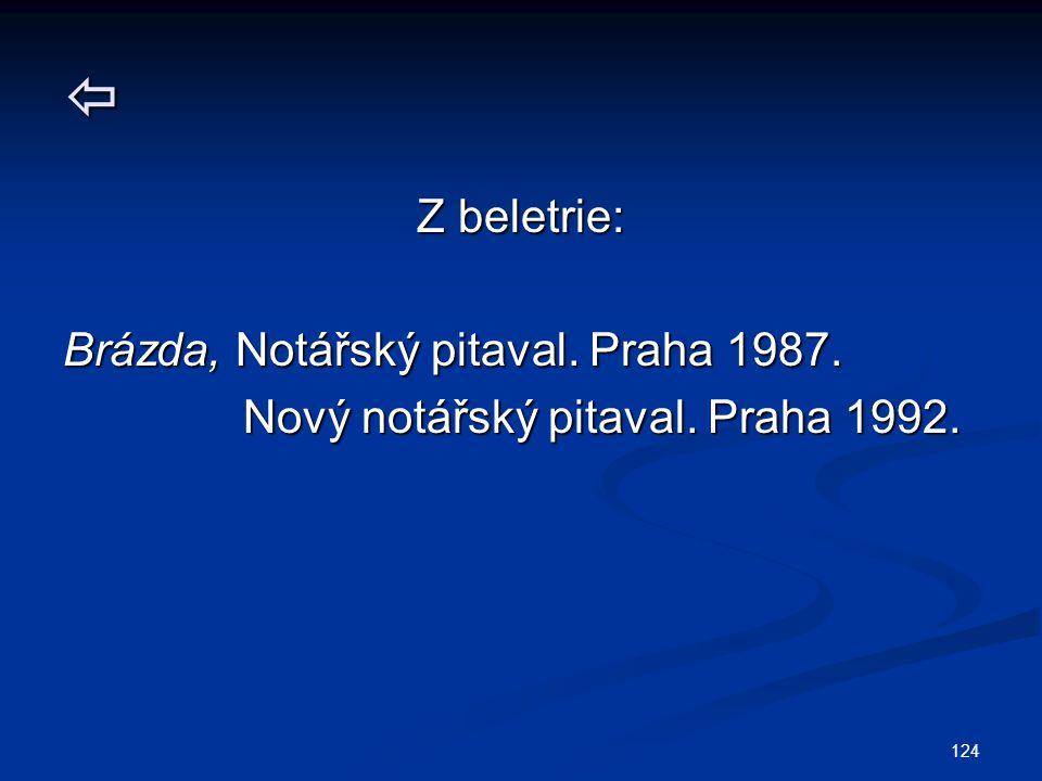 Z beletrie: Brázda, Notářský pitaval. Praha 1987.