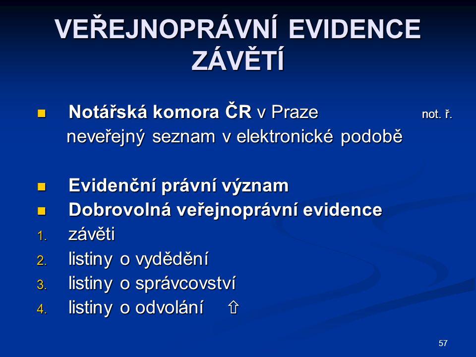 VEŘEJNOPRÁVNÍ EVIDENCE ZÁVĚTÍ