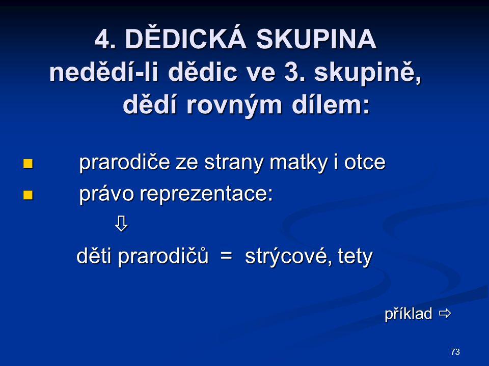 4. DĚDICKÁ SKUPINA nedědí-li dědic ve 3. skupině, dědí rovným dílem:
