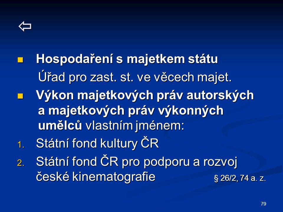  Hospodaření s majetkem státu Úřad pro zast. st. ve věcech majet.