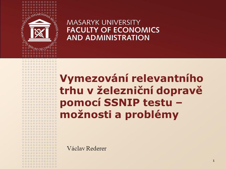 Vymezování relevantního trhu v železniční dopravě pomocí SSNIP testu – možnosti a problémy