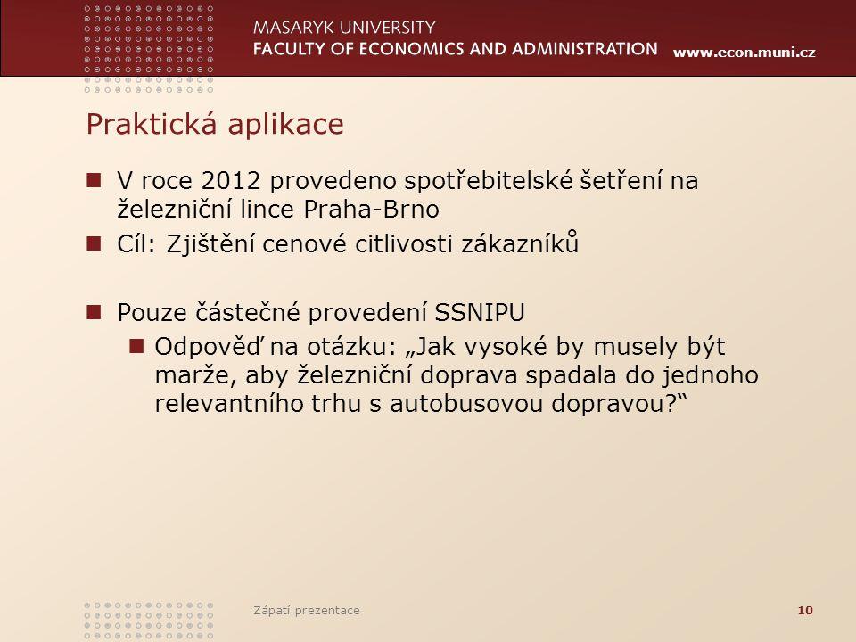 Praktická aplikace V roce 2012 provedeno spotřebitelské šetření na železniční lince Praha-Brno. Cíl: Zjištění cenové citlivosti zákazníků.