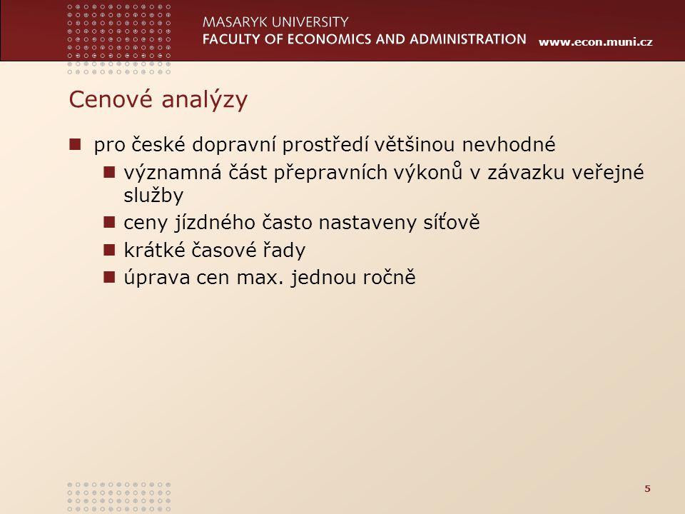 Cenové analýzy pro české dopravní prostředí většinou nevhodné