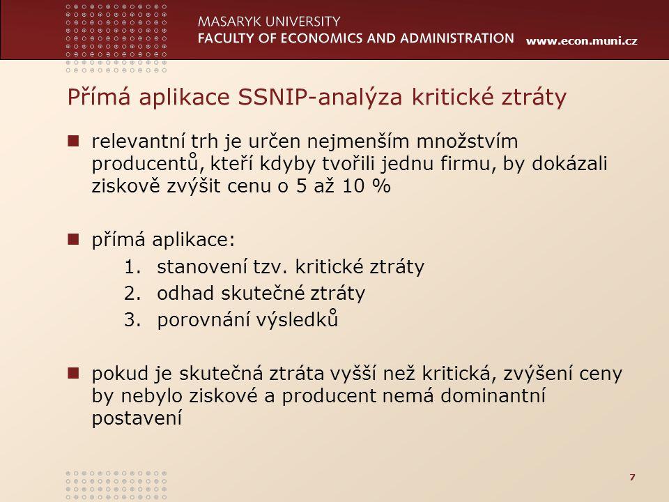Přímá aplikace SSNIP-analýza kritické ztráty