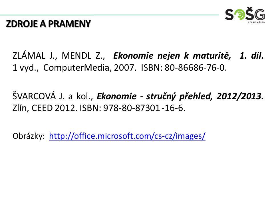 Zdroje a prameny ZLÁMAL J., MENDL Z., Ekonomie nejen k maturitě, 1. díl. 1 vyd., ComputerMedia, 2007. ISBN: 80-86686-76-0.