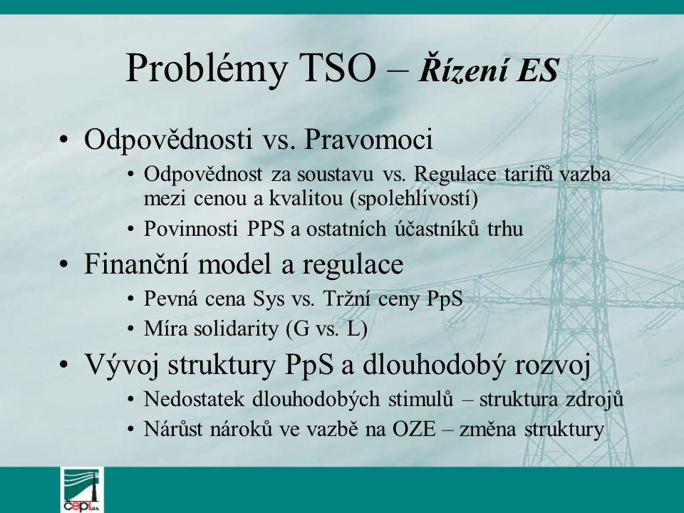 Problémy TSO – Řízení ES