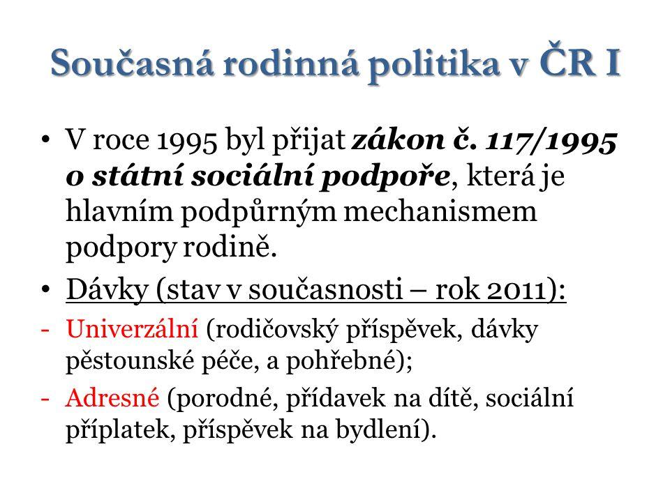 Současná rodinná politika v ČR I