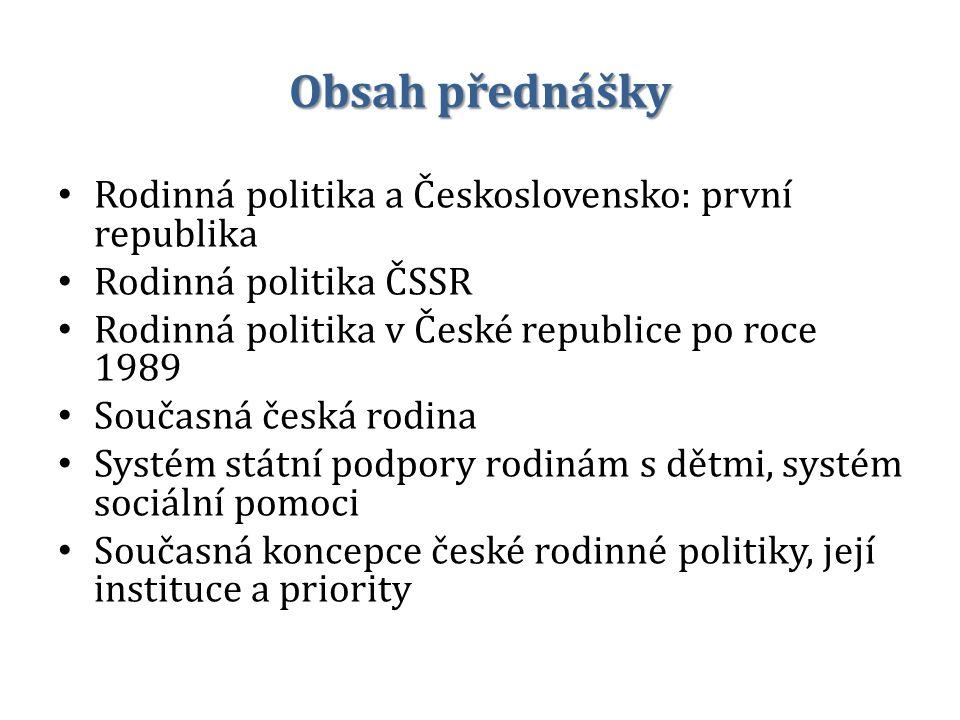 Obsah přednášky Rodinná politika a Československo: první republika