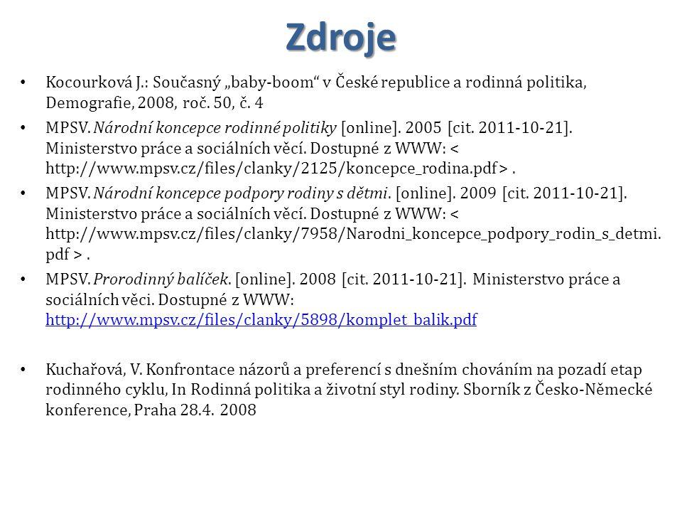 "Zdroje Kocourková J.: Současný ""baby-boom v České republice a rodinná politika, Demografie, 2008, roč. 50, č. 4."