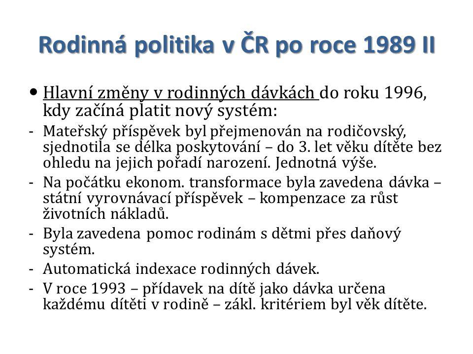 Rodinná politika v ČR po roce 1989 II