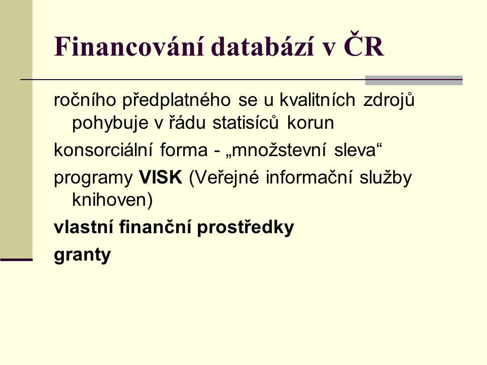 Financování databází v ČR