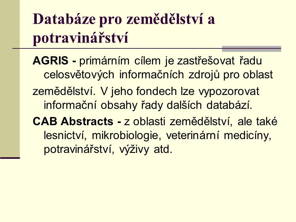 Databáze pro zemědělství a potravinářství