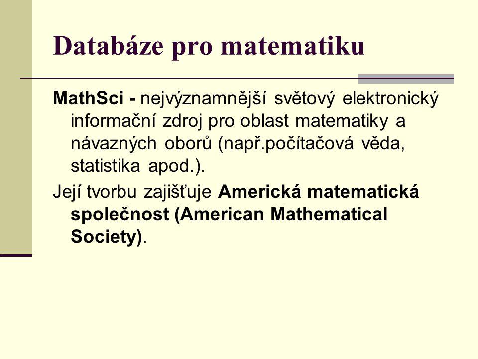 Databáze pro matematiku