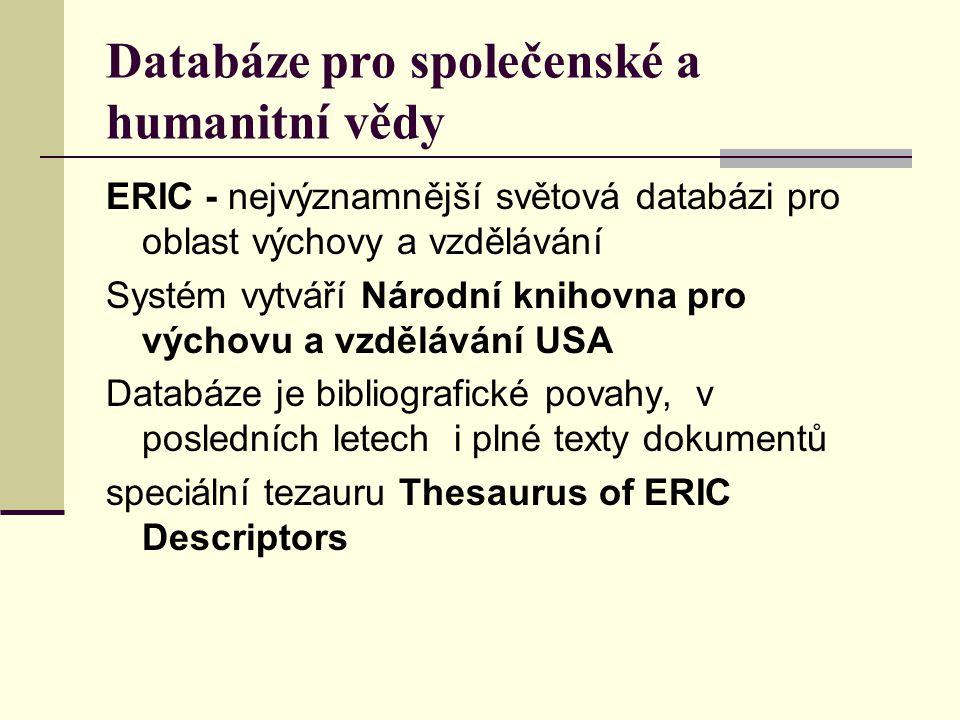 Databáze pro společenské a humanitní vědy