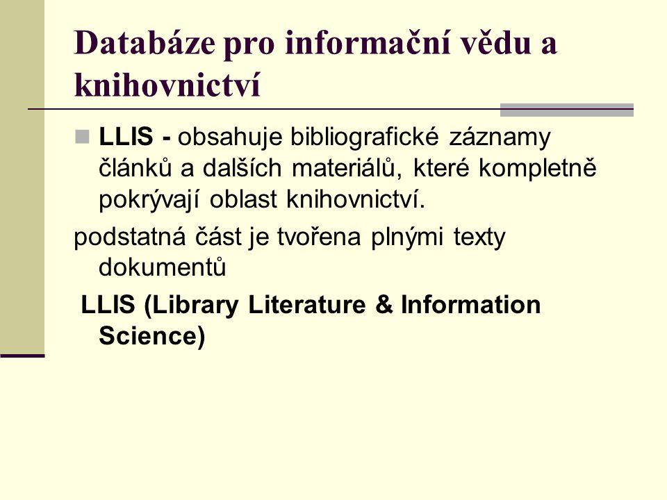 Databáze pro informační vědu a knihovnictví